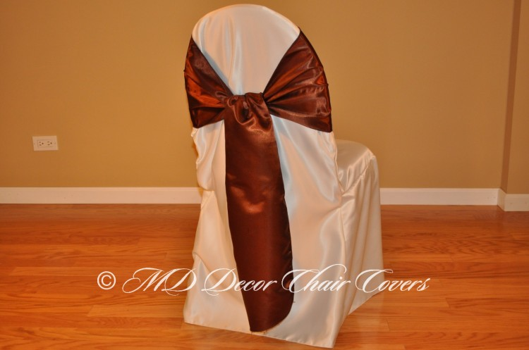 BROWN SATIN LAMOUR SASH FLIPPED OVER STYLE